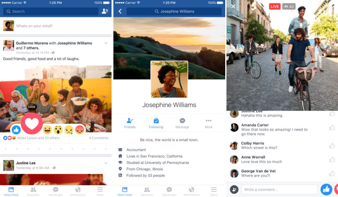 Aplicaciones para iPhone 7: Facebook
