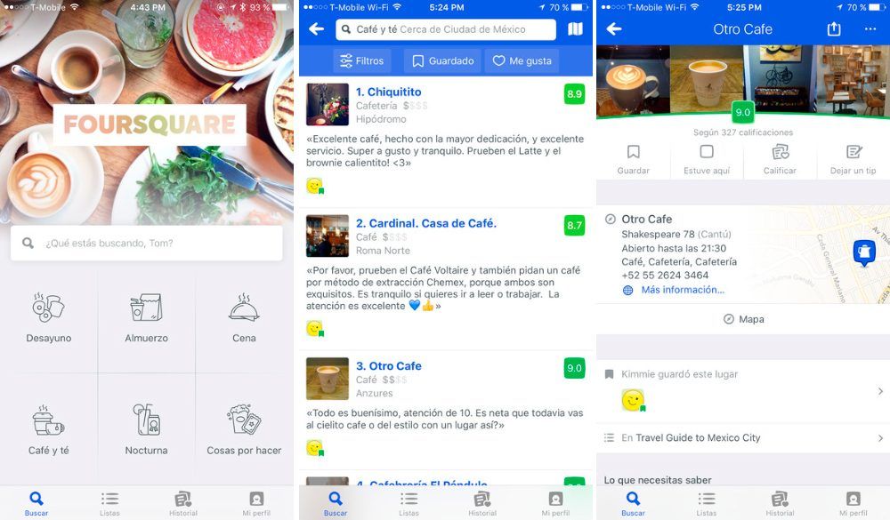 Aplicaciones para iPhone 7: Foursquare