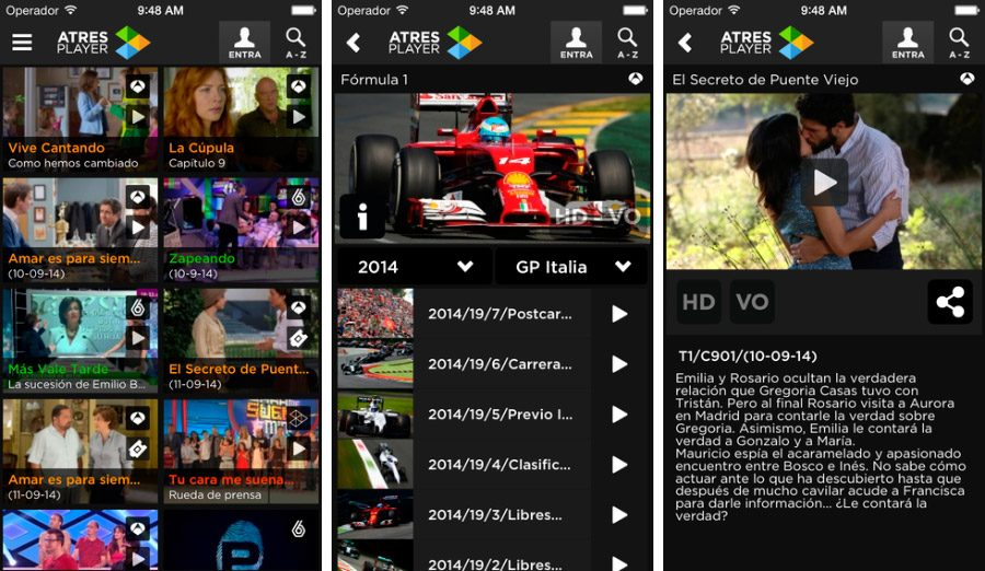 Atresplayer, app de televisión para iPhone/iPad