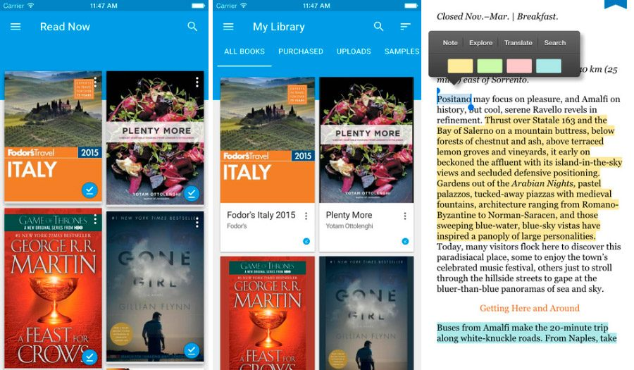 Google Play Books en iPhone