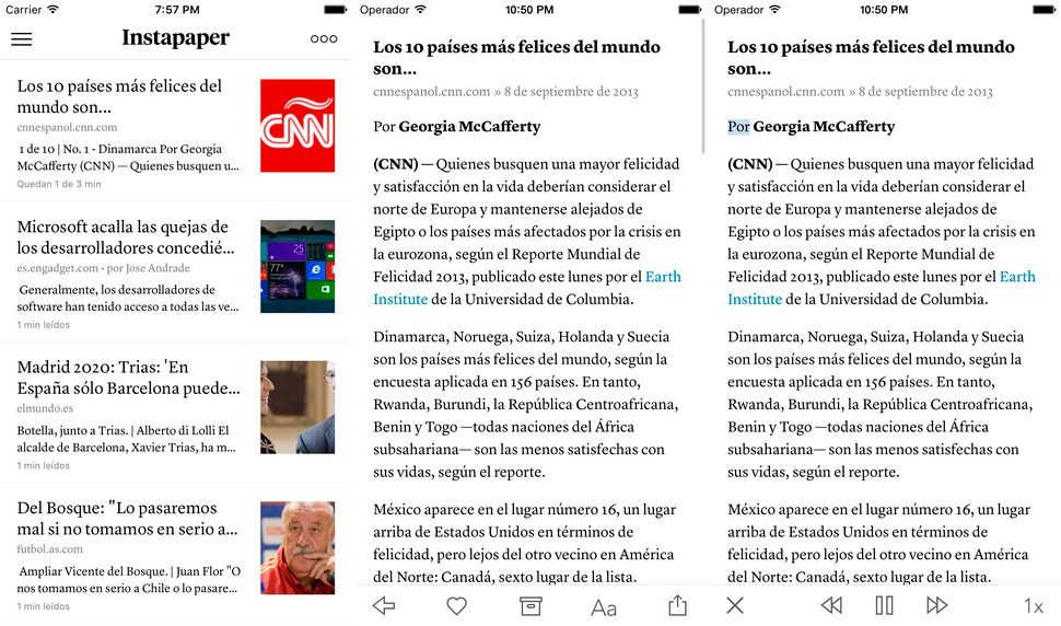 Instapaper para iPhone y iPad